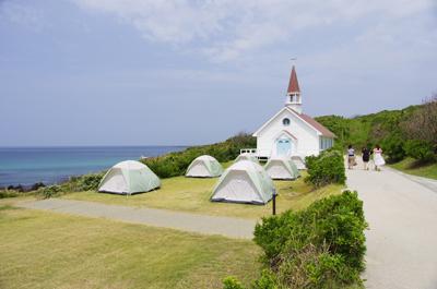 쓰노시마 섬 오하마 캠프장