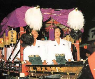 ศาลเจ้าซุมิโยชิเรือ chanting of a Noh text