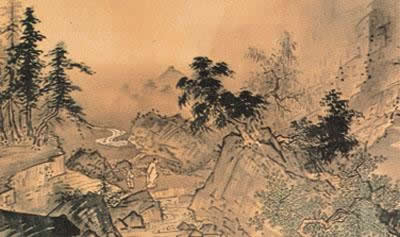 Figure of Kamimoto monochrome painting in India ink pastel The four seasons Sansui